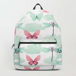 Pink teal watercolor clouds dragonfly butterfly pattern Backpack