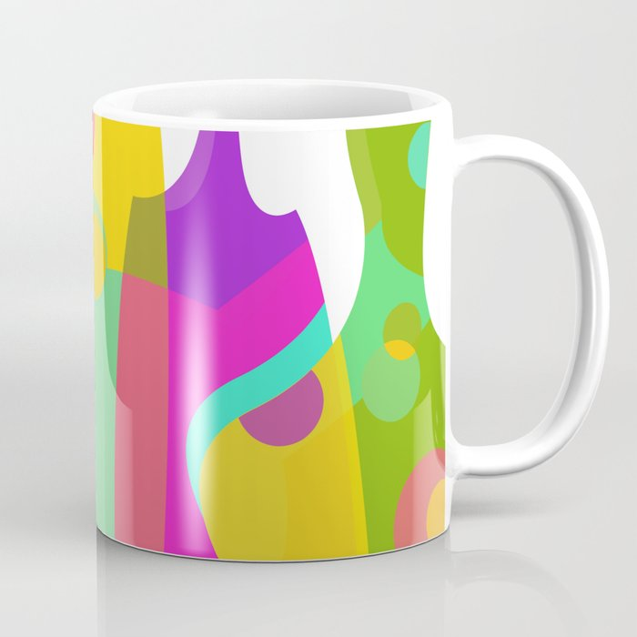 colorful funky bottle shapes i coffee mug by graphictabby society6