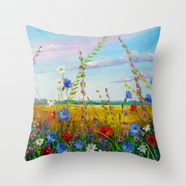 Summer flowers in the field Throw Pillow