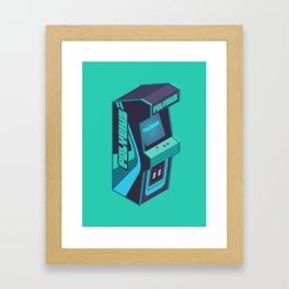 Polybius Arcade Game Machine Cabinet - Isometric Green Framed Art Print