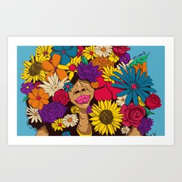 flowers for afro Art Print