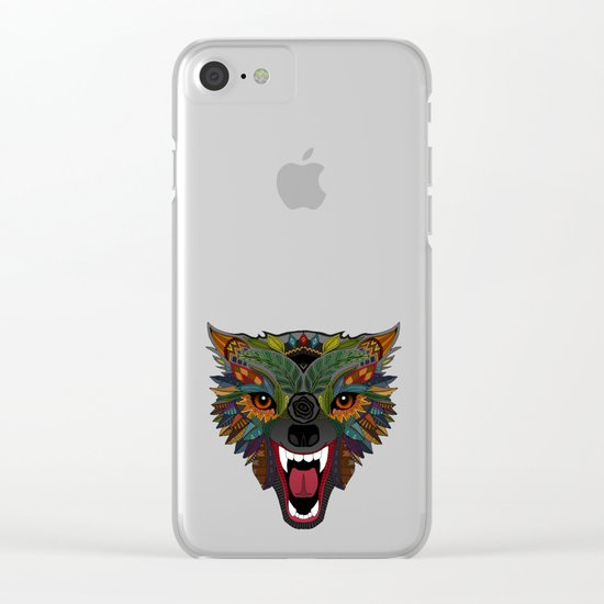 wolf fight flight teal Clear iPhone Case