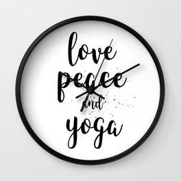 Love Peace and Yoga Wall Clock