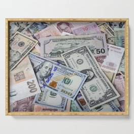 A collection of various foreign currencies Serving Tray