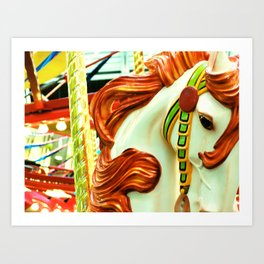 Green Carousel Horse Art Print