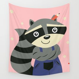 Hello children, says the young raccoon Wall Tapestry