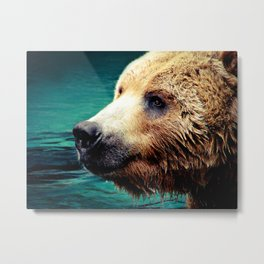 HAPPY GRIZZLY Metal Print