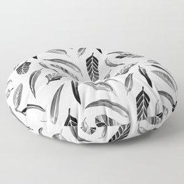 Leaf Pattern - Black Floor Pillow