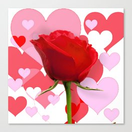 ROMANTIC VALENTINE PINK HEARTS & RED ROSE  ART Canvas Print