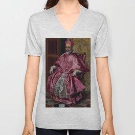 """El Greco (Domenikos Theotokopoulos) """"Cardinal Fernando Niño de Guevara"""" Unisex V-Neck"""
