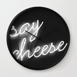 Say Cheese (Black and White) Wall Clock