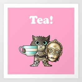 Tea C3PCat Pink Art Print
