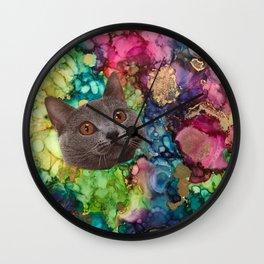 Grey Cat Face Wall Clock