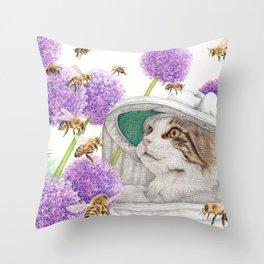Bee Cat Throw Pillow