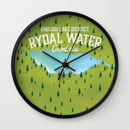 Rydal Water Cumbria Travel map Wall Clock