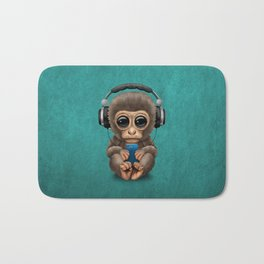 Cute Baby Monkey With Cell Phone Wearing Headphones Blue Bath Mat