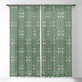 Emerald Art Deco Fan Sheer Curtain