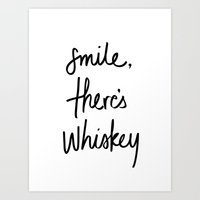 whiskey Art Prints featuring Smile - Whiskey by Note to Self: The Print Shop