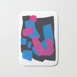 Minimalist Abstract Fun Mid Century Colorful Shapes African Tribal Pattern Magenta Blue Black Jazz Bath Mat
