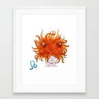leo Framed Art Prints featuring Leo by Aloke Design