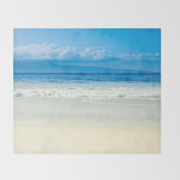 Beach Blue Kapalua Golden Sand Maui Hawaii Throw Blanket