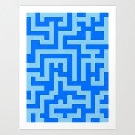Baby Blue and Brandeis Blue Labyrinth Art Print