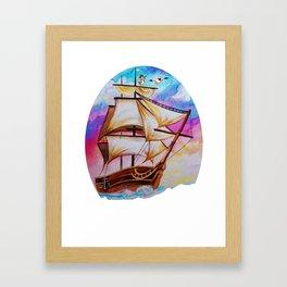 ship watercolor Framed Art Print