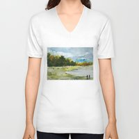 fishing V-neck T-shirts featuring Fishing by Baris erdem
