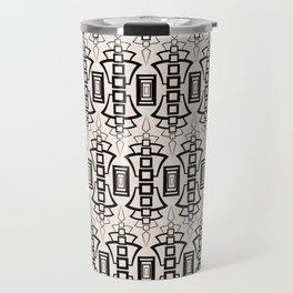 Art Deco 12 . Black and beige pattern . Travel Mug