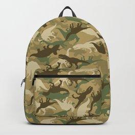 Camouflage Dinosaur Print Olive Green Khaki Tan Backpack