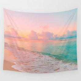 Beautiful: Aqua, Turquoise, Pink, Sunset Relaxing, Peaceful, Coastal Seashore Wall Tapestry