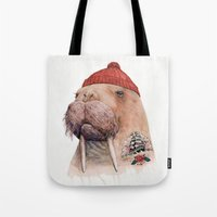 walrus Tote Bags featuring Tattooed walrus by Animal Crew