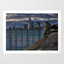 ny harbor collage digital negative Art Print