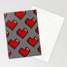 Knitted heart pattern - gray Stationery Cards