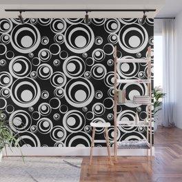 Retro Black White Circles Pop Art Wall Mural