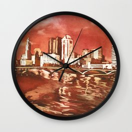 Columbus, Ohio skyline at sunset.  Watercolor painting of skyline of Columbus, OH at sunset Wall Clock
