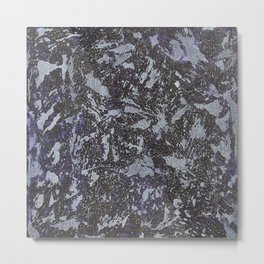 Black and White Ink on Purple Background Metal Print