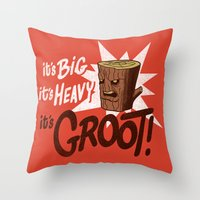 groot Throw Pillows featuring It's Groot by Gimetzco's Damaged Goods