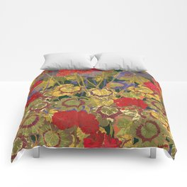 Red Geraniums Comforters