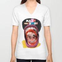 marie antoinette V-neck T-shirts featuring Marie Antoinette by Genco Demirer
