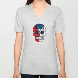 Sugar Skull with Roses and Flag of Czech Republic Unisex V-Neck