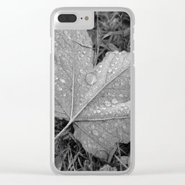 Water drops on leaf maple, black and white photo Clear iPhone Case