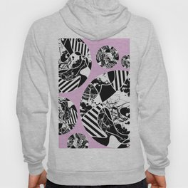 Black And White Bubbles 2 - Multi patterned, multi textured stripes, paint splats and marble on pink Hoody