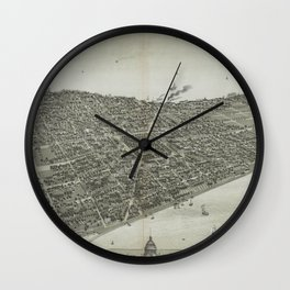 Vintage Pictorial Map of Madison WI (1885) Wall Clock