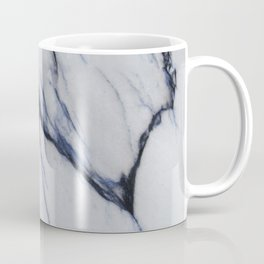 White Marble with Black and Blue Veins Coffee Mug