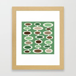 Mid Century Mushroom Clouds - Green and Brown Earth Tones Framed Art Print