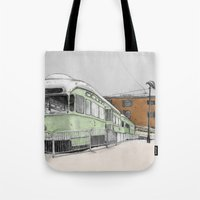 hook Tote Bags featuring Red Hook by Lane Scarano