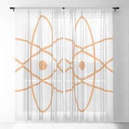 Mid Century Modern Atomic Orange Sheer Curtain