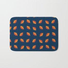 Fall Night - Leaf pattern on navy background Bath Mat