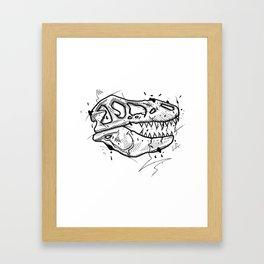 T-Rex Skull Handmade Drawing, Made in pencil and ink, Tattoo Sketch, Tattoo Flash, Blackwork Framed Art Print
